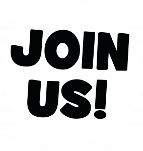Speech bubble icon with the words 'Join Us!'